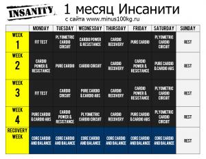 Календарь на первый месяц тренировок + восстановительная неделя.